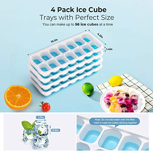 OMORC Cube 4 Pack, Easy-Release Silicone and Flexible 14-Ice Trays with Spill-Resistant