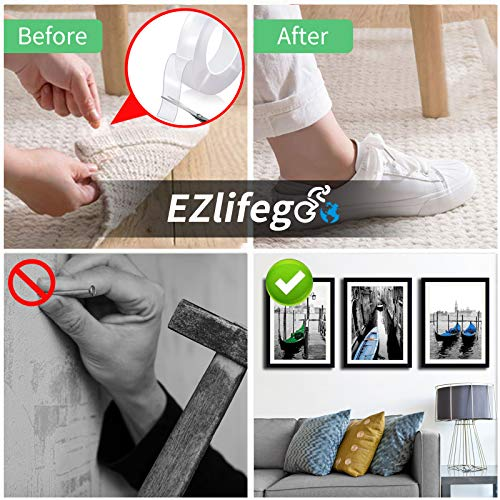EZlifego Double Sided Tape Heavy Duty (9.85FT), Multipurpose Removable Mounting Tape Adhesive Grip,Washable Strong Sticky Wall Tape Strips