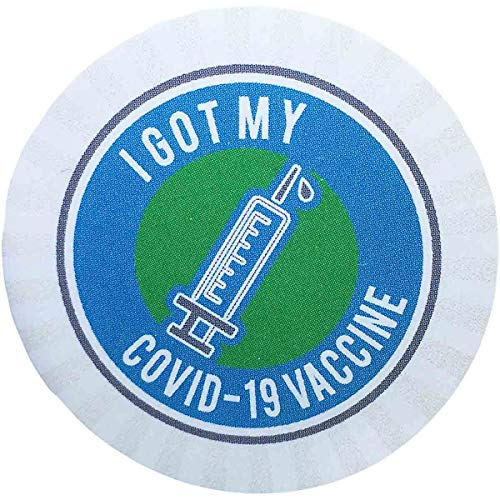 I Got My COVID-19 Vaccine Stickers Blue and Green 1.5 Inch 500 Total Labels