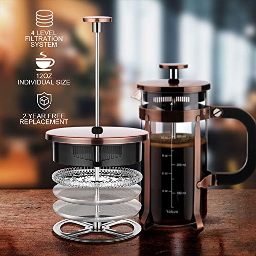 Veken French Press Coffee Maker (12oz), 304 Stainless Steel Coffee Press with 4 Filter