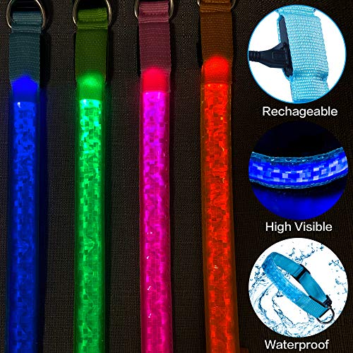 Tekkery Light Up Dog Collar, Glowing Pet Dog Collar for Night Safety with USB