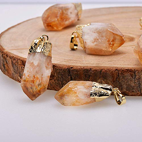 Natural Healing Crystal Yellow Citrine Rough Stone Pendant Necklace, Yellow Gold Tone