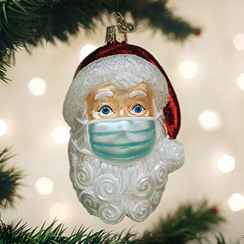 Old World Christmas Santa with Face Mask Blown Glass 2020 Unique Christmas Ornaments for Christmas Tree Decorations