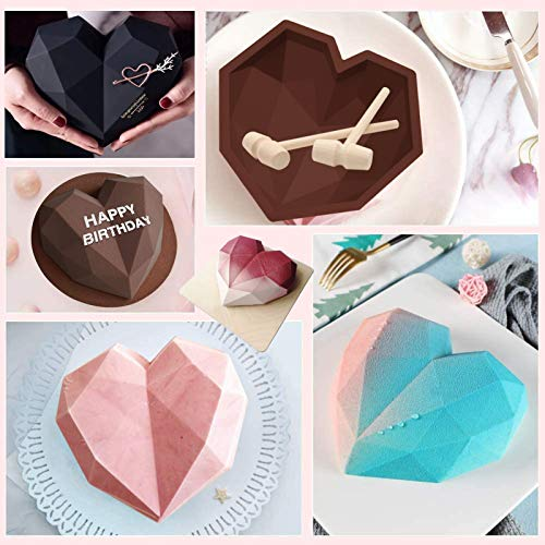 Heart Molds for Chocolate 8.7 Inch large Silicone Cake Mold, 2 PC Silicone Letter Mold