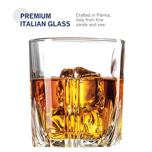 Paksh Novelty 7-Piece Italian Crafted Glass Decanter & Whisky Glasses Set