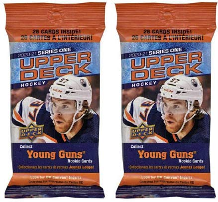 2 PACKS: 2020/21 Upper Deck Series 1 NHL Hockey FAT PACK (26 cards/pk)