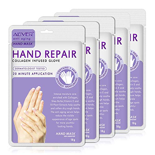 Aliver Hand Peel Mask, (5 Pack) Moisturizing Gloves,Moisturizing Natural Therapy Gloves