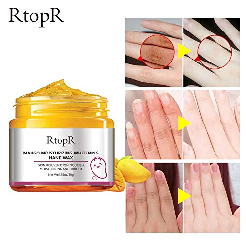 RtopR Hands Care Paraffin Moisturizing Peel off Hand Wax Mask Hydrating Exfoliating Nourish Whitening Skin 1.75Oz/50G