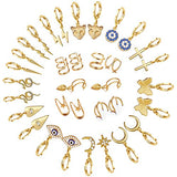 17 Pairs Gold Small Hoop Earrings Pack with Charm-Silver Mini Hoop Dangle Earrings