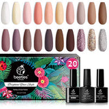 Beetles 20 Pcs Valentine's Day Gel Nail Polish Kit, Bare Collection Soak Off