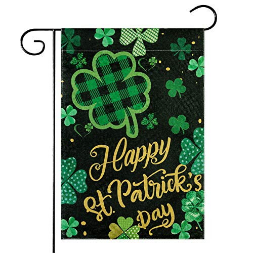 "Unves St Patricks Day Garden Flag 12.5""x18"" Vertical Double Sided, Shamrock Happy"