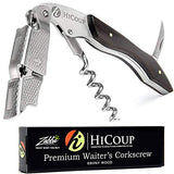 Waiters Corkscrew by HiCoup - Professional Ebony Wood All-in-one Corkscrew