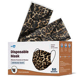 WeCare Disposable Face Mask Individually Wrapped - 50 Pack, Leopard Print Masks