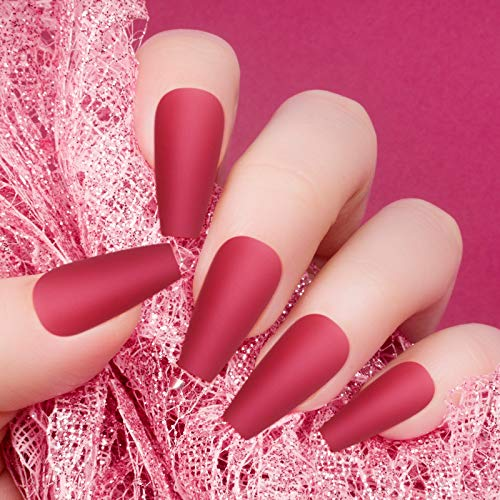 240 Pieces Extra Long Press on Nails Matte Ballerina Long Coffin Fake Nails Solid Color