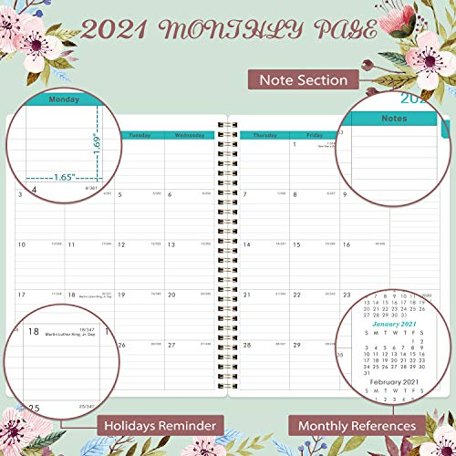2021 Planner - 2021 Weekly & Monthly Planner with Tabs, 2021 floral planner