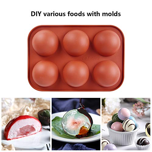 5pcs Half Circle Sphere Silicone Mold for Hot Chocolate Bomb, Baking Mold for Making