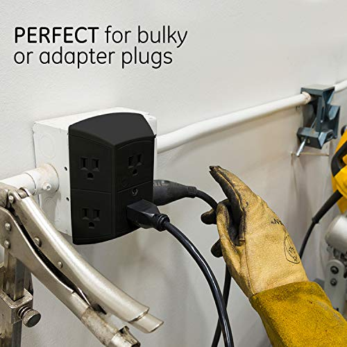 GE 6 Outlet Wall Plug Adapter Power Strip, Extra Wide Spaced Outlets, Power Adapter