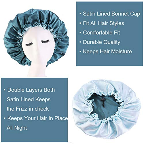 Cospack Satin Bonnet Sleep Bonnet Cap - Extra Large Double Layer Reversible