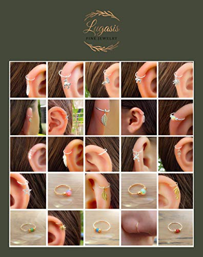 Tiny White Opal Nose Hoop Ring Piercings 24 G Nose Hoop Piercings - 14K Gold