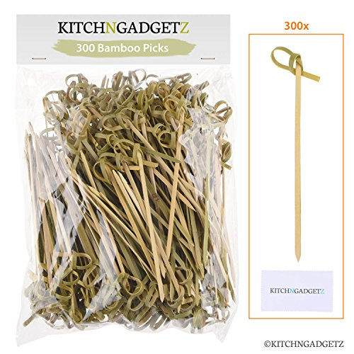 Bamboo Cocktail Picks - 300 Pack - 4.1 inch - With Looped Knot - Great for Cocktail Party