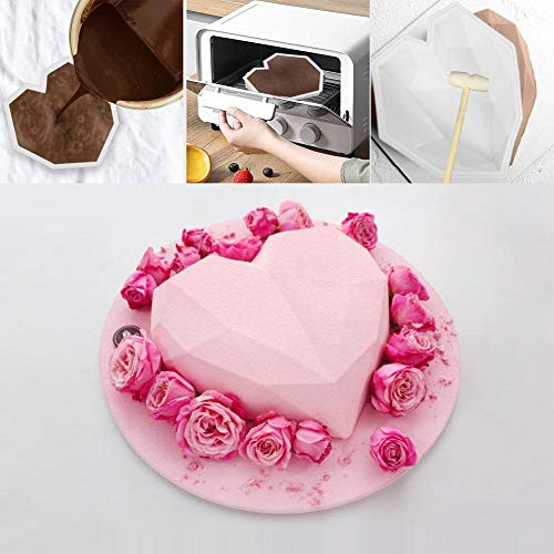 Diamond Heart Shape Silicone Cake Mold, Silicone Chocolate Mousse Dessert