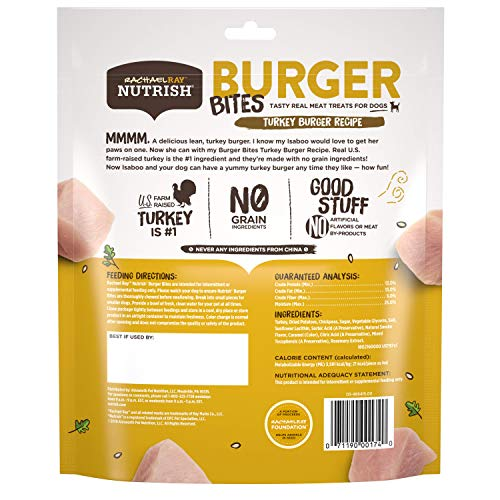 Rachael Ray Nutrish Burger Bites Real Meat Dog Treats, Turkey Burger Recipe, 12 Ounce