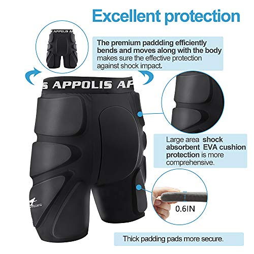 3D Protective Padded Shorts for Snowboard,Skate and Ski, Appolis Protection Shorts