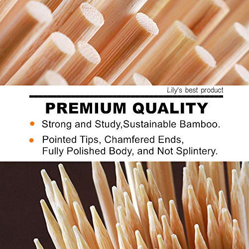"HOPELF 6"" Natural Bamboo Skewers for BBQ,Appetiser,Fruit,Cocktail,Kabob"