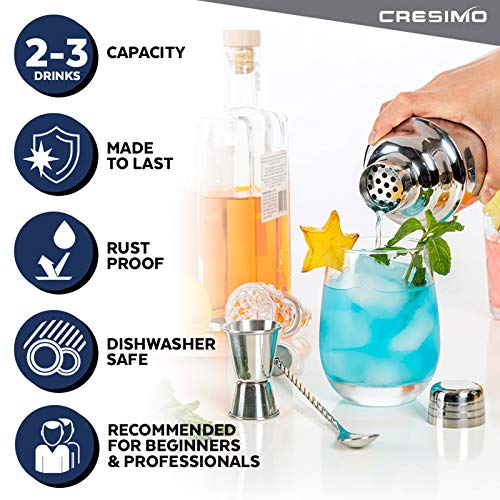 Cresimo 24 Ounce Cocktail Shaker Bar Set with Accessories - Martini Kit