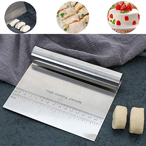 Pro Dough Pastry Scraper/Cutter/Chopper Stainless Steel Mirror Polished with Measuring