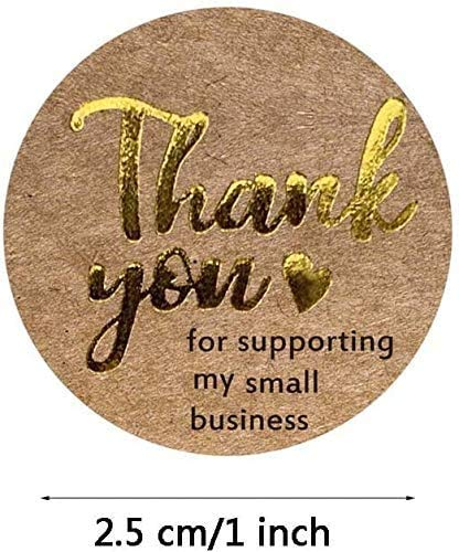 500 Pcs/roll Thank You for Supporting My Small Business Kraft Stickers Gold Foil