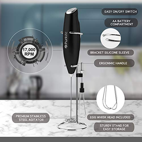 Milk Frother Handheld Detachable with Egg-beating Head and Support Stand Electric