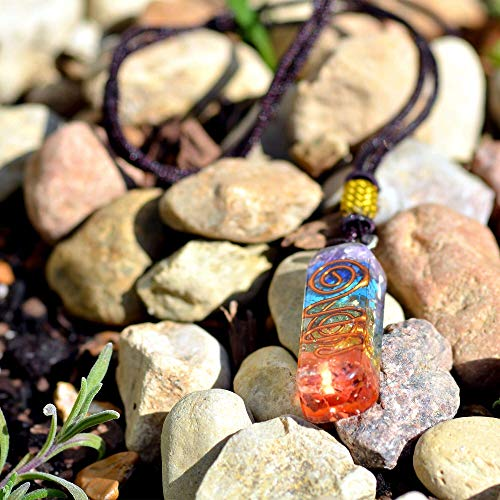Orgone Chakra Healing Pendant with Adjustable Cord – 7 Chakra Stones Necklace