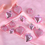 Aneco 24 Pack 2 Sizes Valentine's Heart-Shaped Baubles Heart Ornaments Hanging