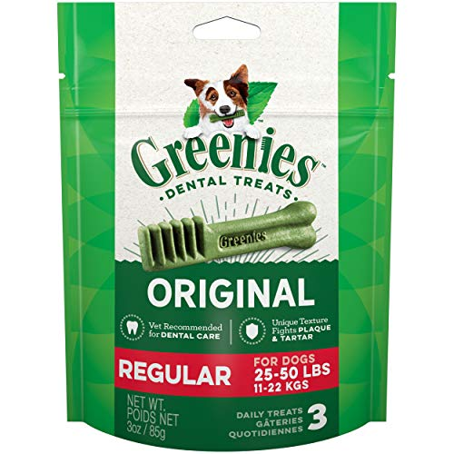 Greenies Original Dental Dog Treats, Regular Size for Dogs 25-50 Lbs, 3 Oz Pouch