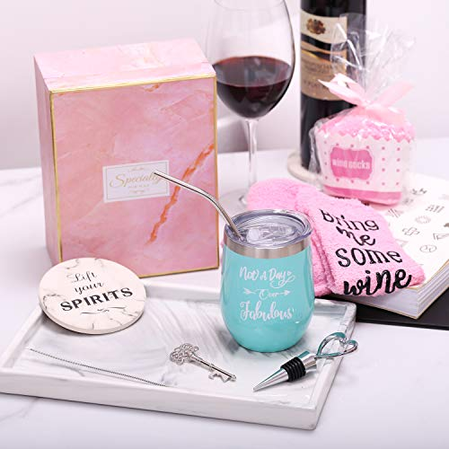 Yorktend Not a Day Over Fabulous Wine Tumbler - Fun Birthday Gifts for Women