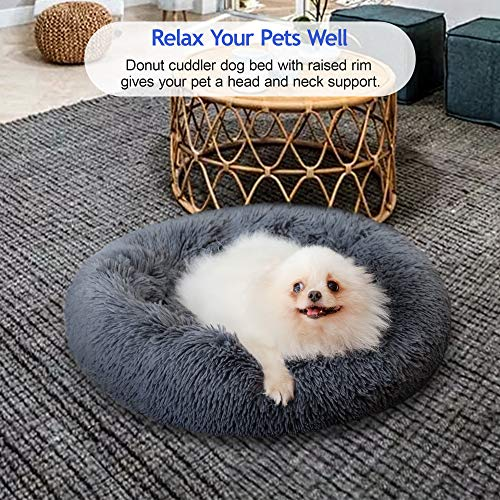 Dog Bed, Comfortable Round Donut Cuddler Pet Bed, Self-Warming Faux Fur Dog Cat