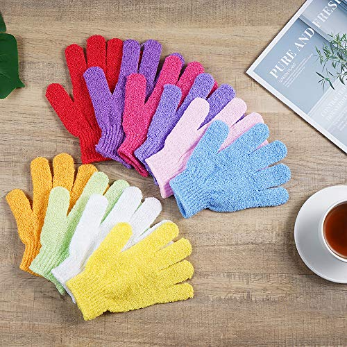 10 Pairs Exfoliating Bath Gloves,Made of 100% NYLON,10 Colors Double Sided