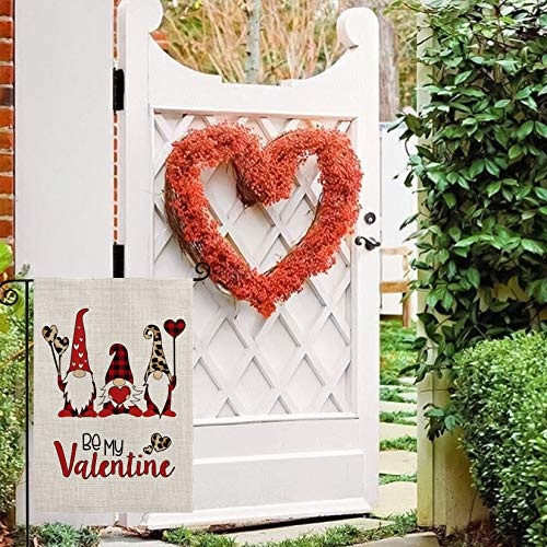 AVOIN Valentine's Day Buffalo Check Plaid Leopard Gnome Love Heart Garden Flag