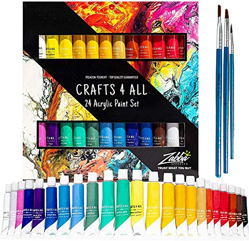 Acrylic Paint Set 24 Colors by Crafts 4 ALL Perfect