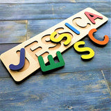 Wooden Personalized Name Puzzle Personalized Engraved Text Greetings on Back Gift