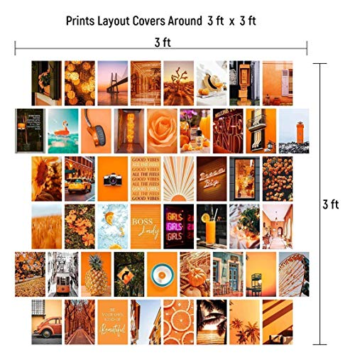 Orange Wall Collage Kit Aesthetic Pictures, Bedroom Decor for Teen Girls, Wall Collage
