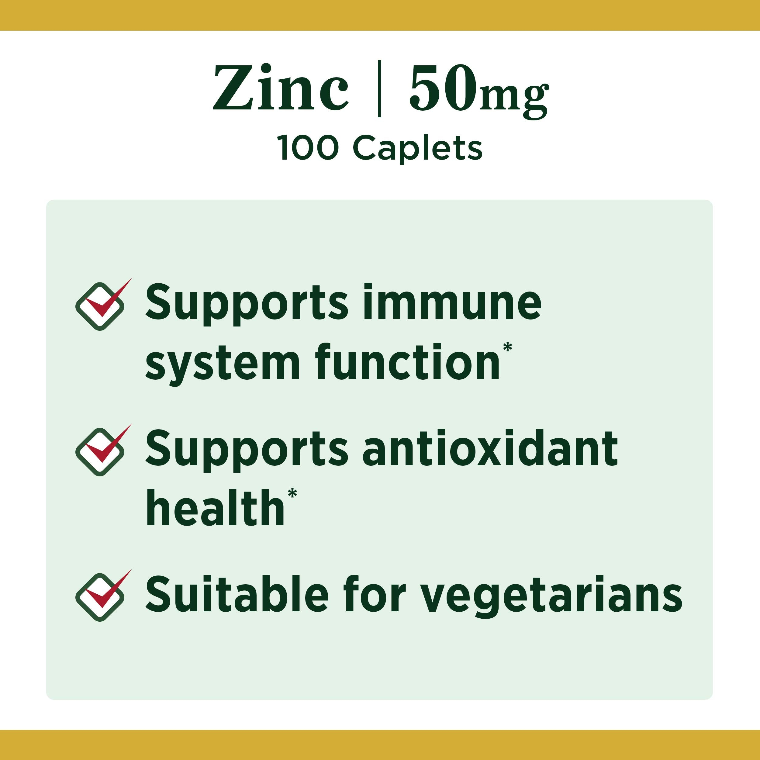 Nature's Bounty Zinc 50 mg Caplets 100 ea
