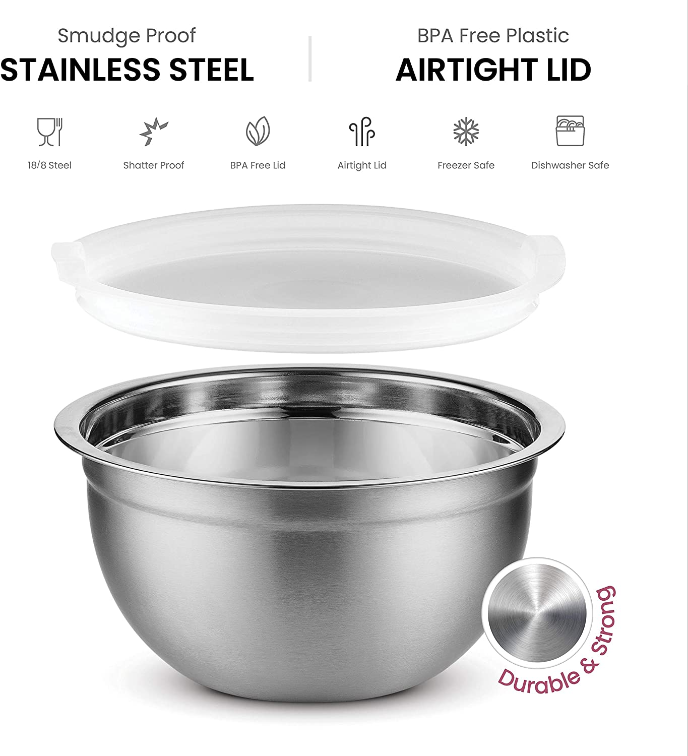 Premium Stainless Steel Mixing Bowls with Airtight Lids (Set of 5) Easy Grip & Stability Design Mixing Bowl Set For Cooking, Baking & Food Storage