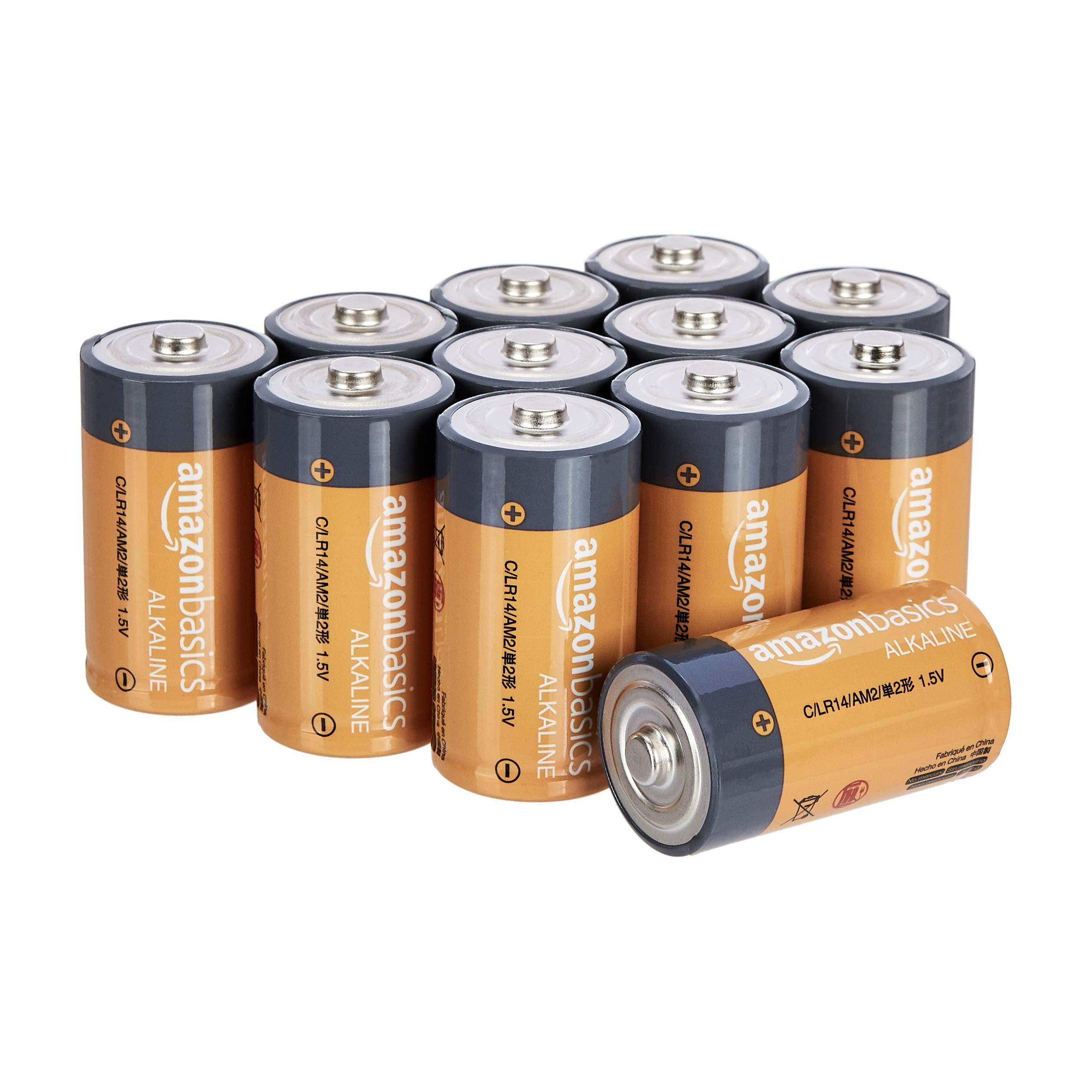 Amazon Basics 12 Pack C Cell All-Purpose Alkaline Batteries, 5-Year Shelf Life