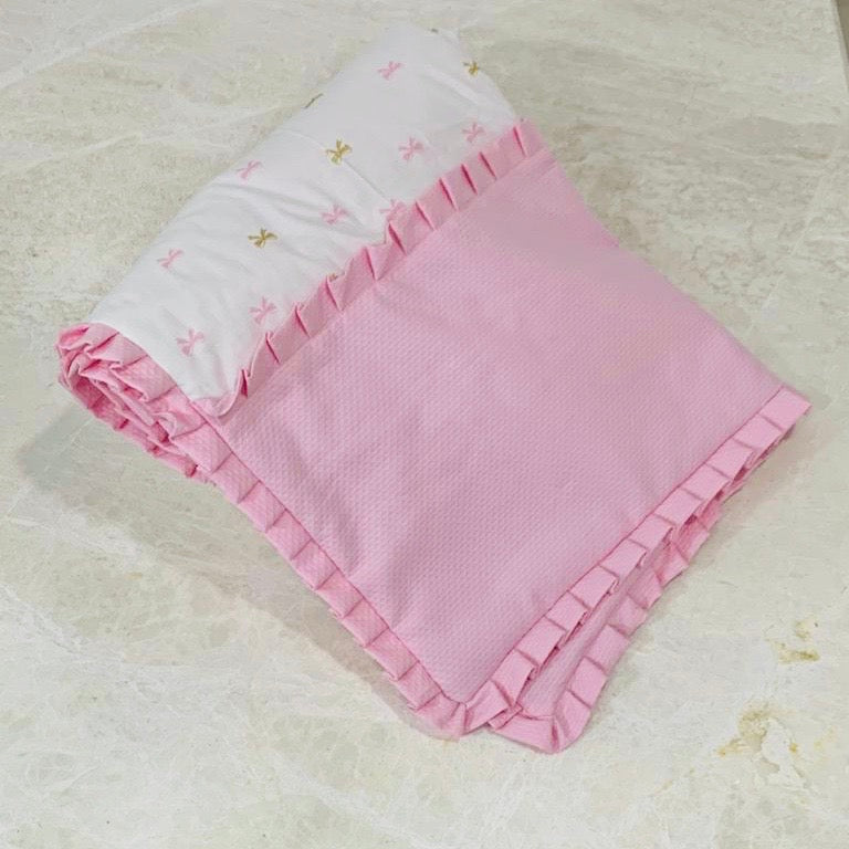Pink wave with Bow Blanket
