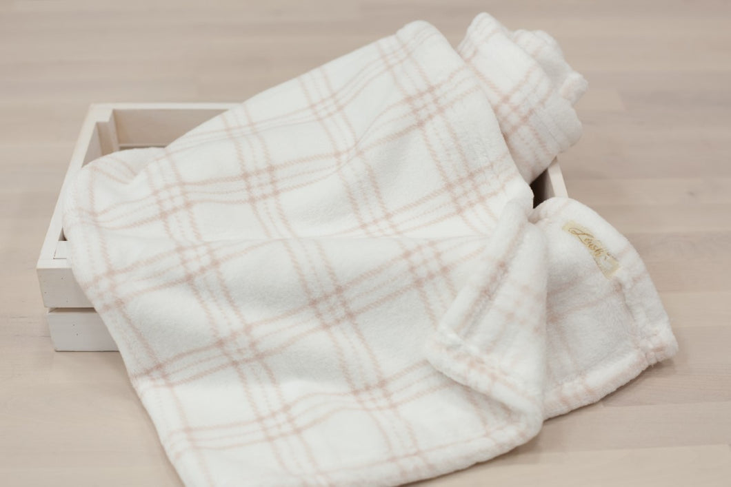Fleece Pink & White Checker Blanket