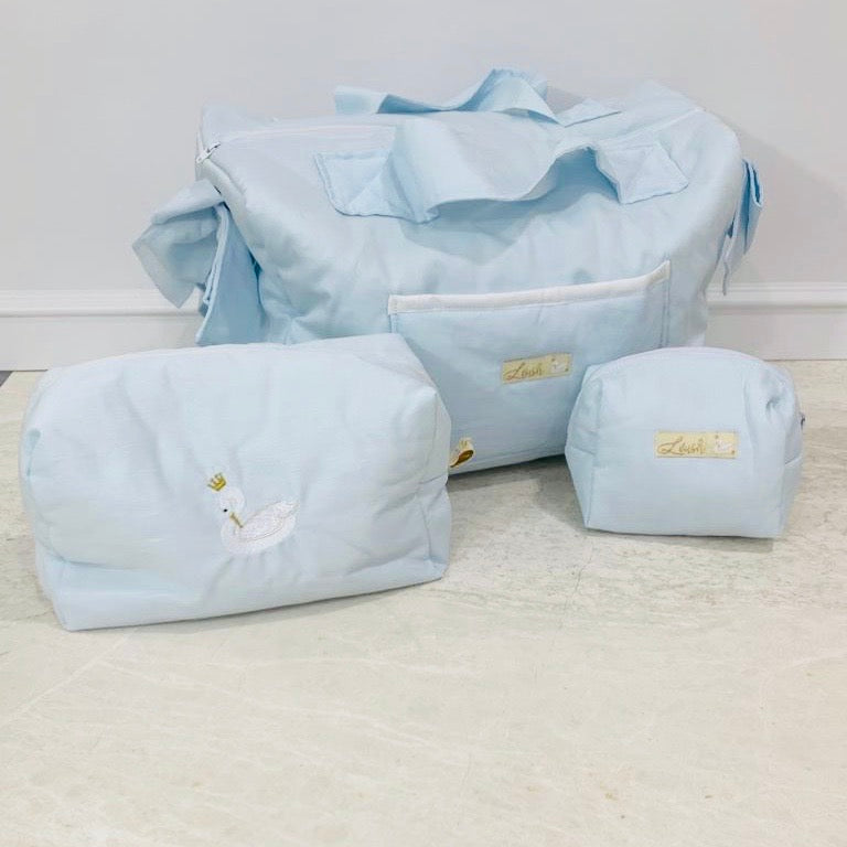 Ice Blue Diaper Bag set of 3 items