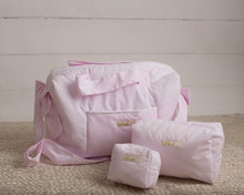 Load image into Gallery viewer, Pink Pearl Dots Diaper Bag set of 3 items