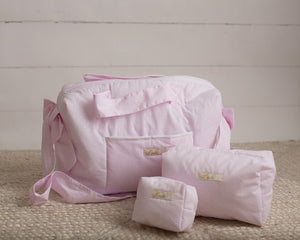 Pink Pearl Dots Diaper Bag set of 3 items